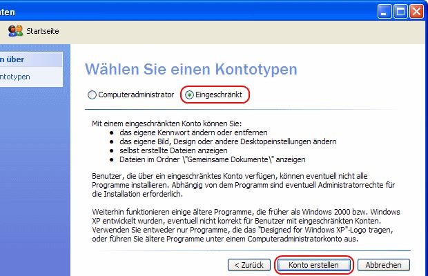 Windows XP eingeschränkten Benutzer erstellen