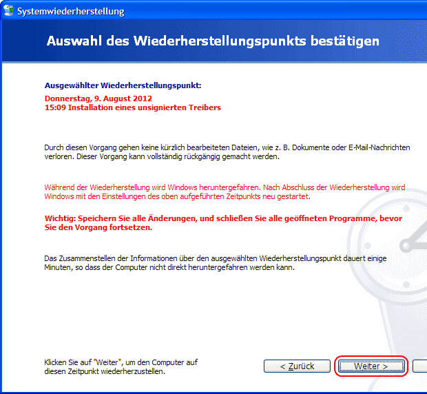 Windows XP Systemwiederherstellung starten
