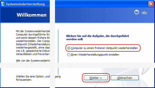 Windows XP Systemwiederherstellung