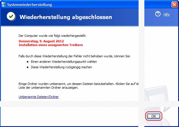 Windows XP Wiederherstellung abgeschlossen