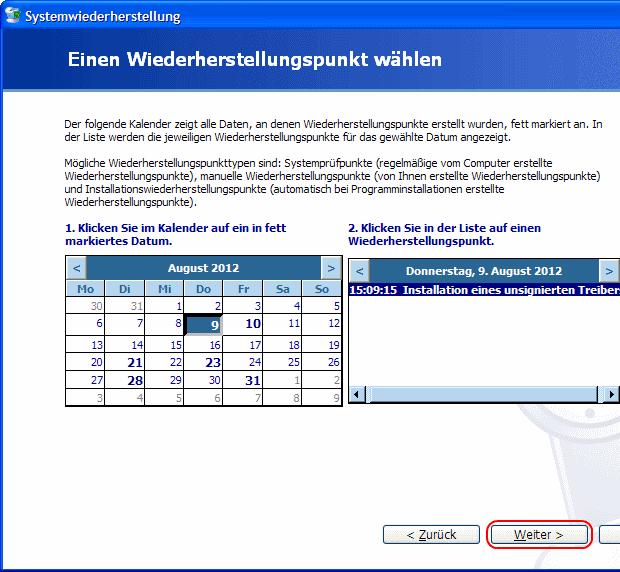 Windows XP Wiederherstellungspunkt wählen
