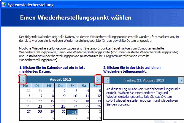Windows XP Wiederherstellungspunkte