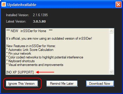 inSSIDer Windows XP kein Update durchführen