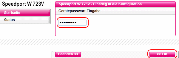 Speedport W 723V Einstieg in die Konfiguration
