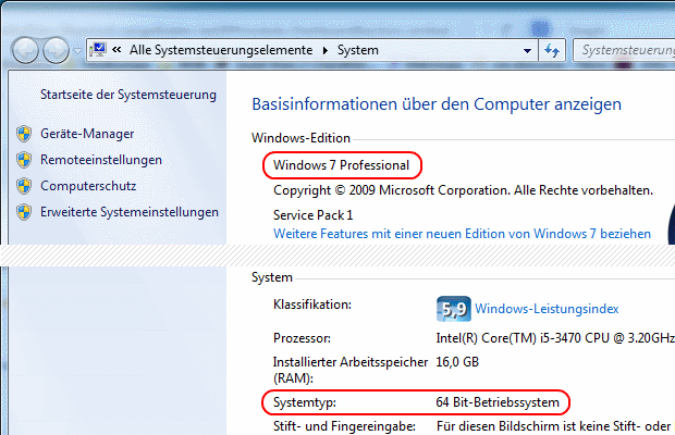 Windows 7 Version, Edition und Systemtyp