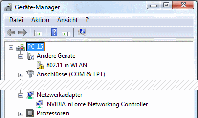 Windows 7 Geräte-Manager WLAN-Adapter kein Treiber