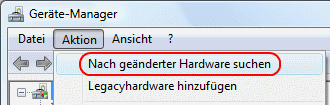 Windows Vista Nach geänderter Hardware suchen
