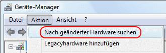 Windows Vista Nach geänderter Hardware suchen