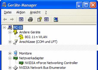 Windows XP Geräte-Manager WLAN-Adapter kein Treiber