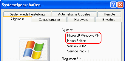 Windows XP Version, Edition und Systemtyp