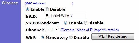 WLAN-Router Linksys BEFW11S4 WLAN-Einstellungen ändern