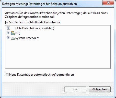 Windows 7 Defragmentierung Datenträger auswählen