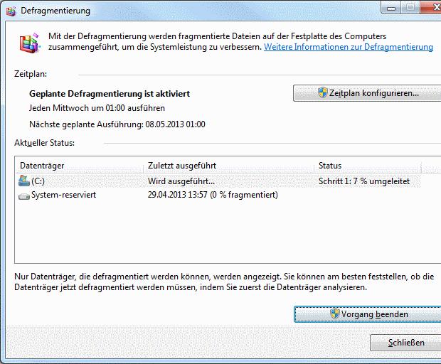 Windows 7 Defragmentierung läuft