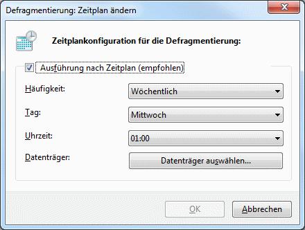 Windows 7 Defragmentierung Zeitplan ändern