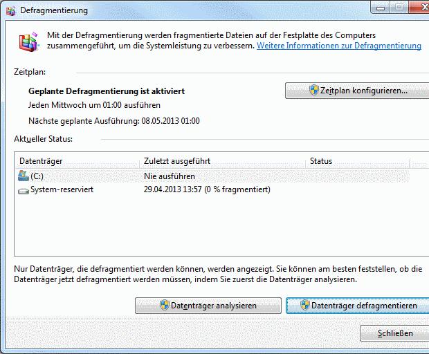 Windows 7 Defragmentierung