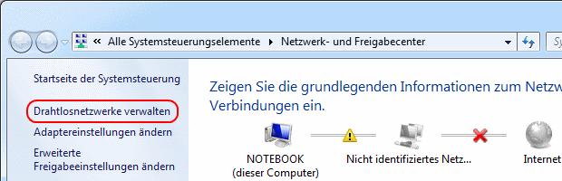 Windows 7 Drahtlosnetzwerke verwalten aufrufen