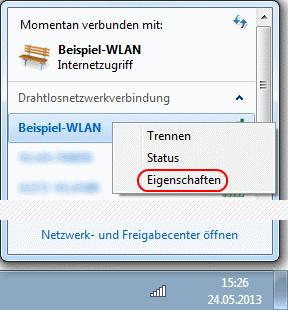 Windows 7 Eigenschaften einer WLAN-Verbindung aufrufen