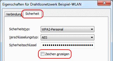 Windows 7 WLAN-Eigenschaften Sicherheit