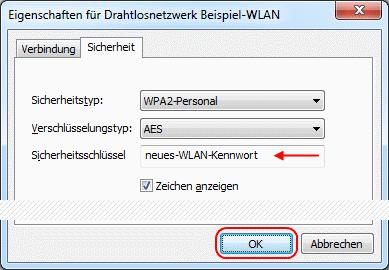 Windows 7 WLAN-Kennwort ändern