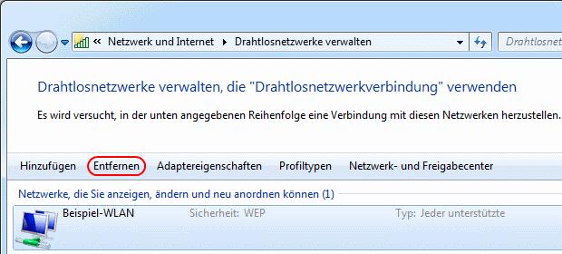Windows 7 WLAN-Verbindung entfernen