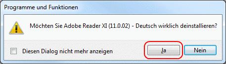 Windows Deinstallation eines Programms starten