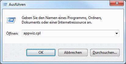 Windows Deinstallationsprogramm aufrufen