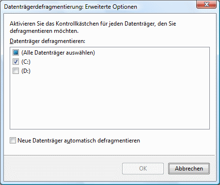 Windows Vista Defragmentierung Datenträger auswählen