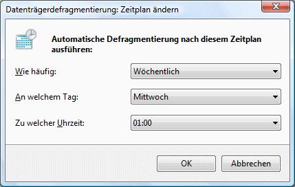 Windows Vista Defragmentierung Zeitplan ändern