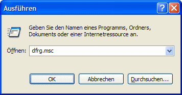 Windows XP Defragmentierung aufrufen