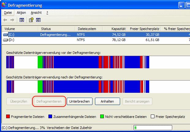 Windows XP Festplatte defragmentieren