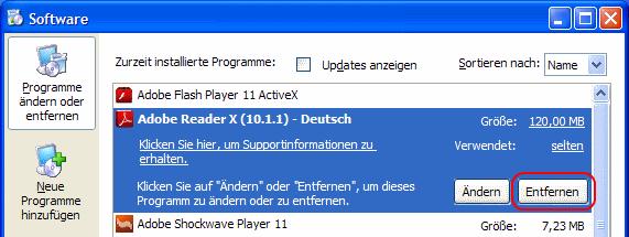 Windows XP Programm deinstallieren