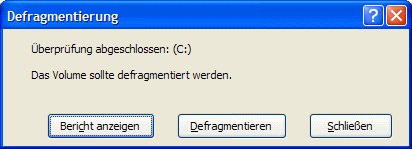 Windows XP Festplatte sollte defragmentiert werden