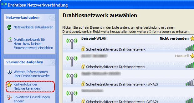 Windows XP Reihenfolge der Netzwerke ändern