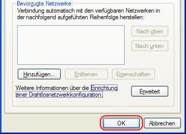 Windows XP WLAN-Verbindung entfernen speichern