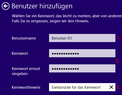 Windows 8 Benutzer hinzufügen