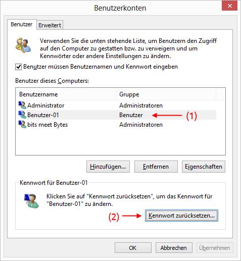 Windows 8 Benutzerkonten