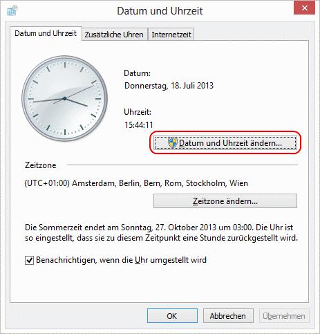 Windows 8 Datum und Uhrzeit ändern