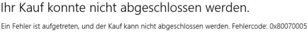 Windows 8 Fehlercode 0x80070005