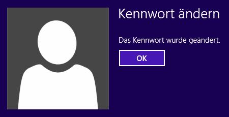 Windows 8 Kennwort wurde geändert