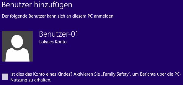 Windows 8 neuen Benutzer hinzugefügt