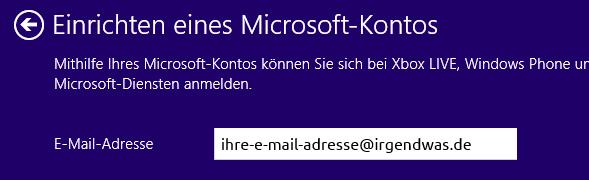 Windows 8 neuer Benutzer Microsoft-Konto E-Mail-Adresse übernommen