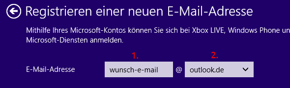 Windows 8 neuer Benutzer Microsoft-Konto neue E-Mail-Adresse registrieren