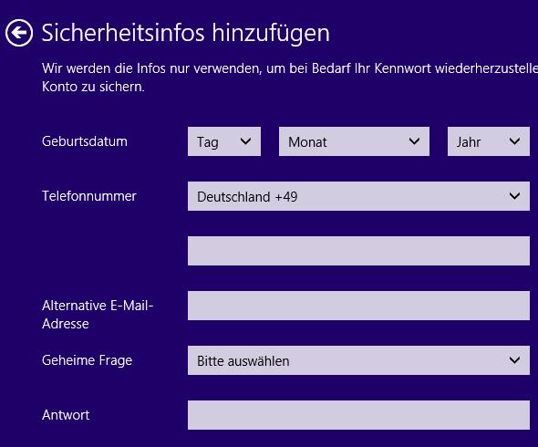 Windows 8 neuer Benutzer Microsoft-Konto Sicherheitsinfos