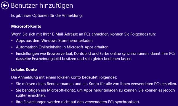 Windows 8 neuer Benutzer Optionen