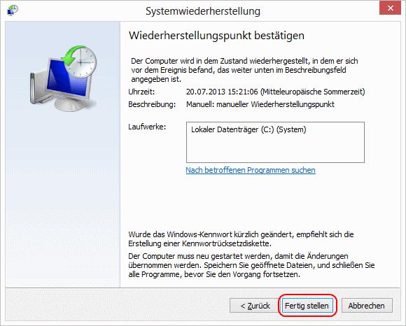 Windows 8 Wiederherstellungspunkt bestätigen