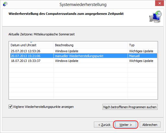 Windows 8 einen Wiederherstellungspunkt wählen