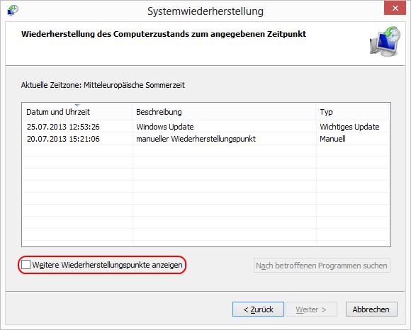 Windows 8 Wiederherstellungspunkte anzeigen