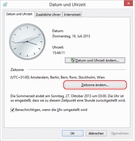 Windows 8 Zeitzone ändern
