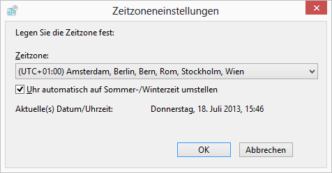 Windows 8 Zeitzoneinstellungen