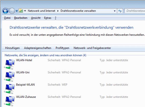 Windows 7 Drahtlosnetzwerke verwalten